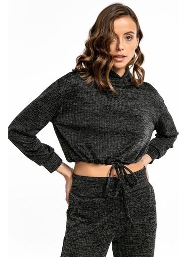 Tiffany&Tomato Beli Tünelli Kapüşonlu Kaşkorse Sweatshirt - Tarçın Siyah